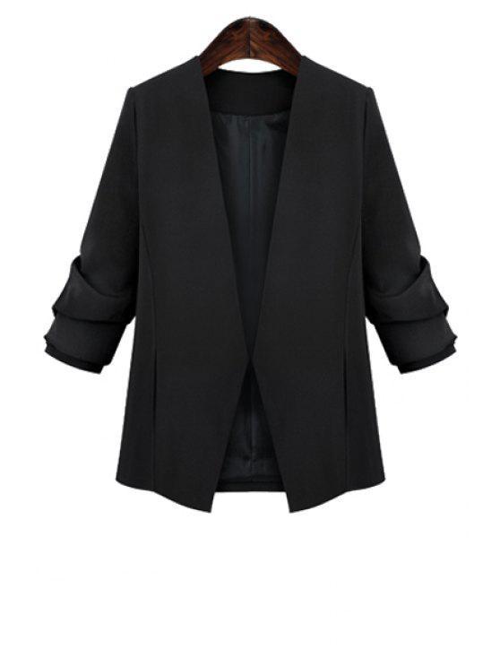 outfit Long Sleeve Plus Size Black Blazer - BLACK XL
