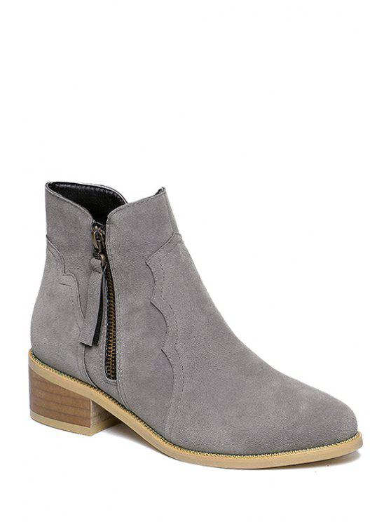 lady Tassel Suede Solid Color Ankle Boots - GRAY 34