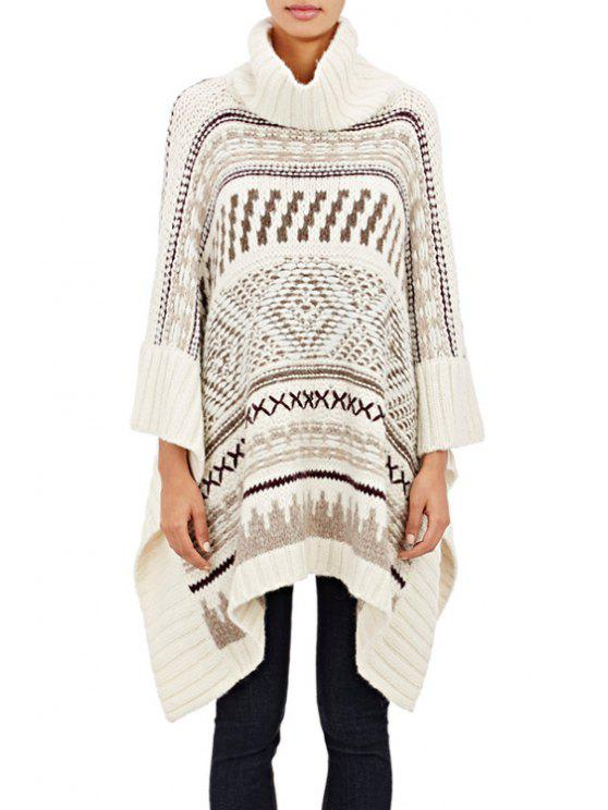 women's Turtle Neck Jacquard Cloak Sweater - WHITE ONE SIZE(FIT SIZE XS TO M)