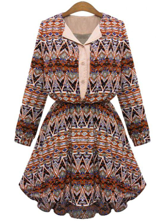 latest V-Neck Color Block Printed Long Sleeve Dress - JACINTH S