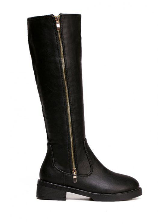 chic Solid Color Zipper Platform Knee-High Boots - BLACK 35