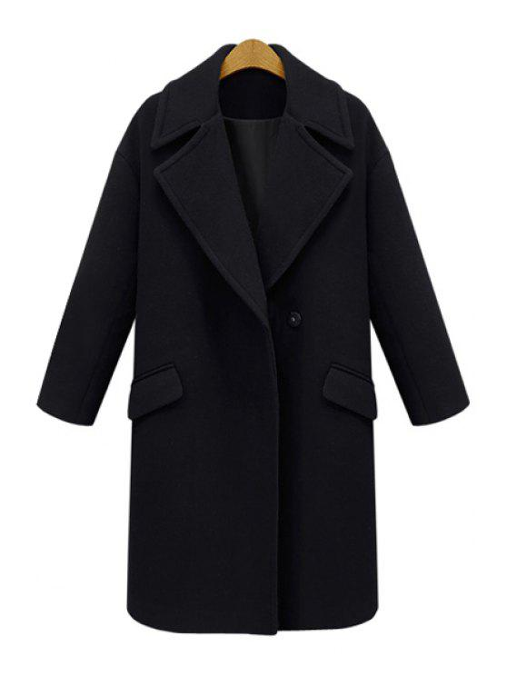 ladies Lapel Pocket Design Wool Coat - BLACK 5XL
