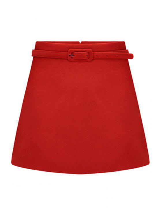 best Solid Color Belt Skirt - RED S