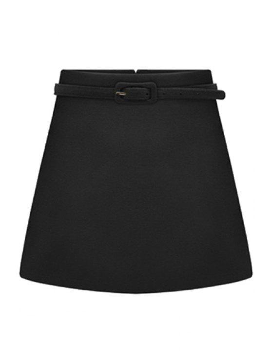 trendy Solid Color Belt Skirt - BLACK 2XL