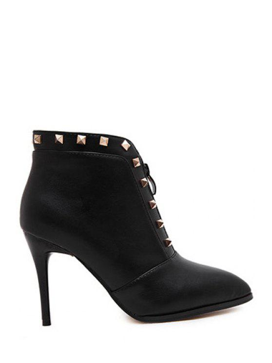 women Rivets Zipper Solid Color High Heel Boots - BLACK 36