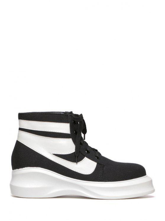 outfits Lace-Up Color Block Platform Ankle Boots - BLACK 34