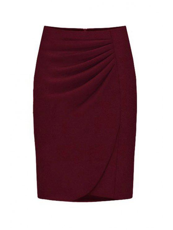 sale High-Waisted Ruched Midi Skirt - WINE RED S