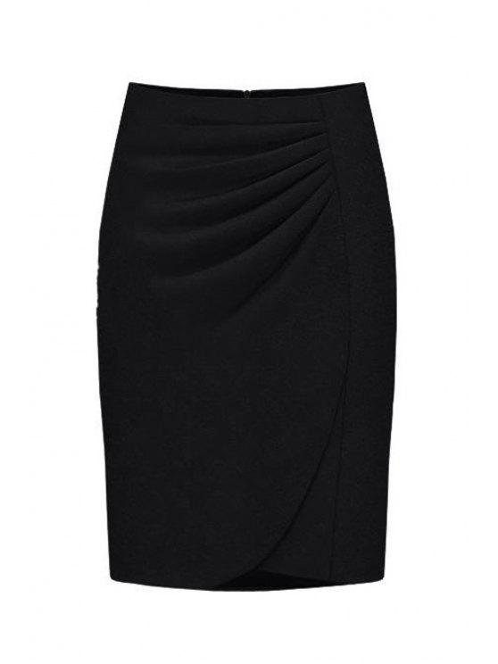 shops High-Waisted Ruched Midi Skirt - BLACK XL
