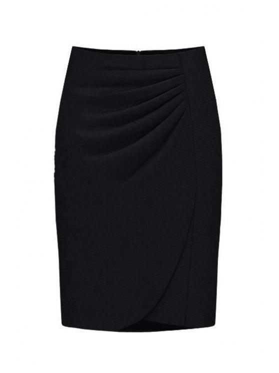 shops High-Waisted Ruched Midi Skirt - BLACK XL