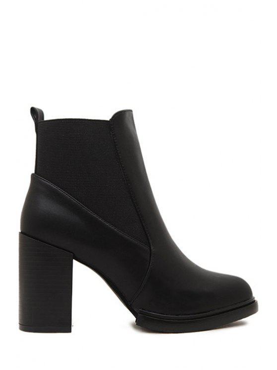 fashion Elastic Splicing Solid Color Short Boots - BLACK 39