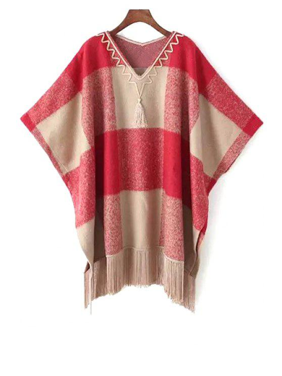 fashion Tartan Plaid V-Neck Loose-Fitting Cape Sweater - RED ONE SIZE(FIT SIZE XS TO M)