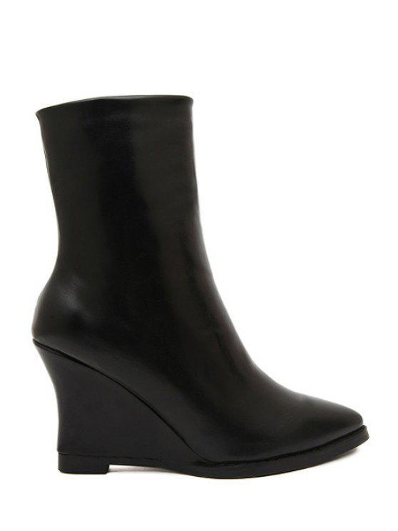 chic Zipper Wedge Heel Solid Color Short Boots - BLACK 34