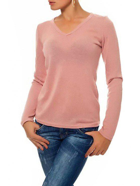 sale Long Sleeve Lace Back T-Shirt - PINK ONE SIZE(FIT SIZE XS TO M)