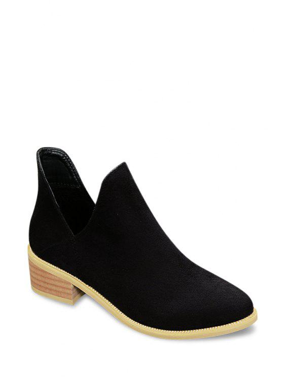 womens Suede Hollow Out Solid Color Short Boots - BLACK 34