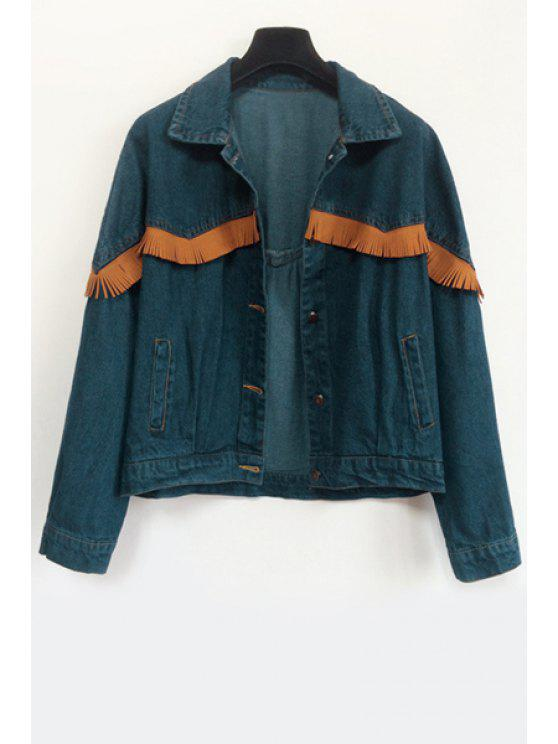 ladies Tassel Splicing Denim Long Sleeve Coat - BLUE ONE SIZE(FIT SIZE XS TO M)