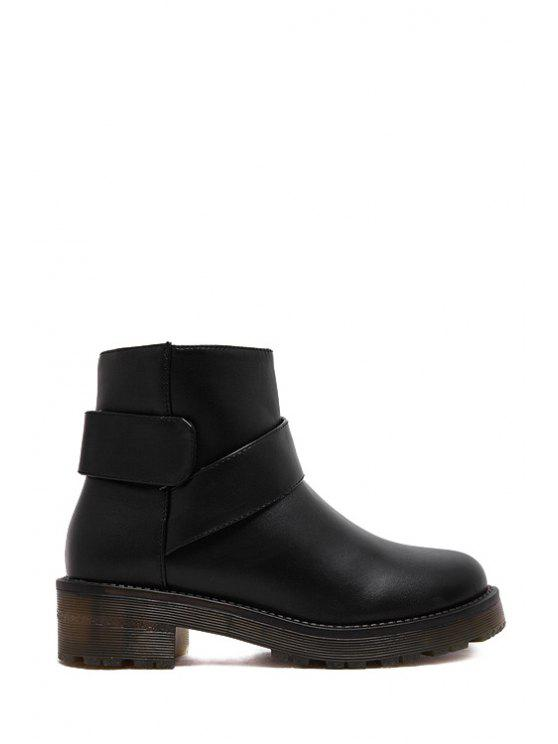 new Round Toe Solid Color Platform Ankle Boots - BLACK 35