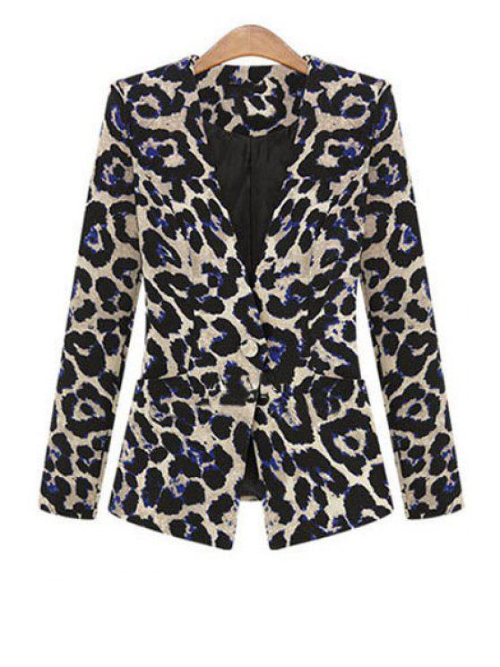 affordable One Button Leopard Plus Size Blazer - BLACK L