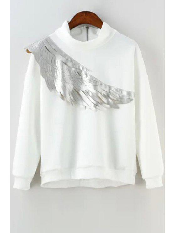 women Wing Print Stand Collar Long Sleeves Sweatshirt - WHITE S