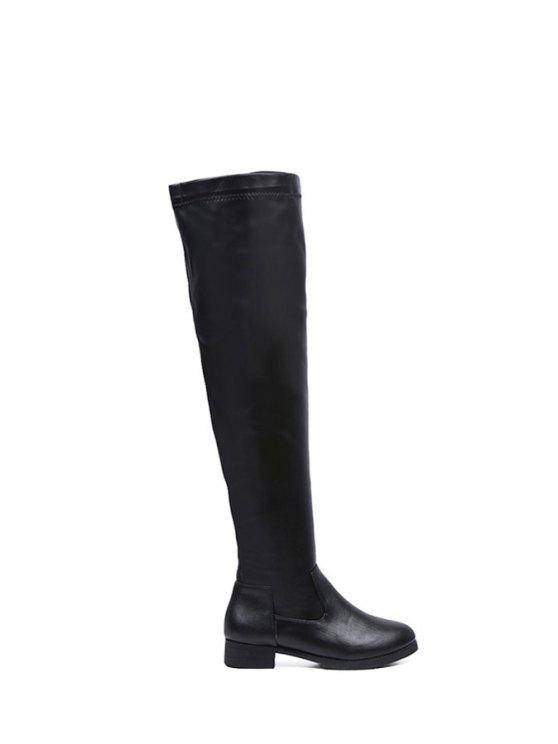 women's Zipper Solid Color Over The Knee Boots - BLACK 35