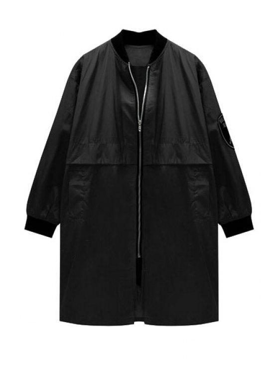 ladies Stand Neck Pocket Trench Coat - BLACK S