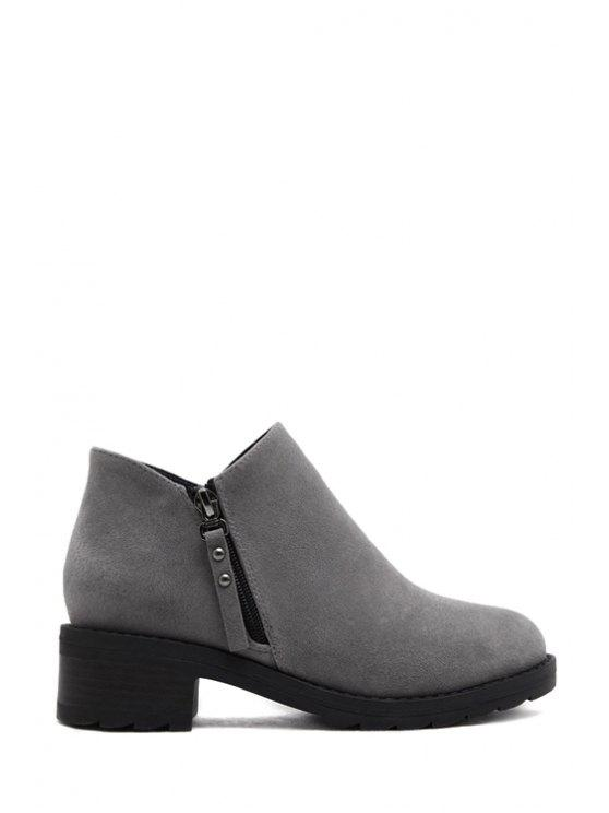 fashion Suede Rivets Solid Color Ankle Boots - GRAY 38