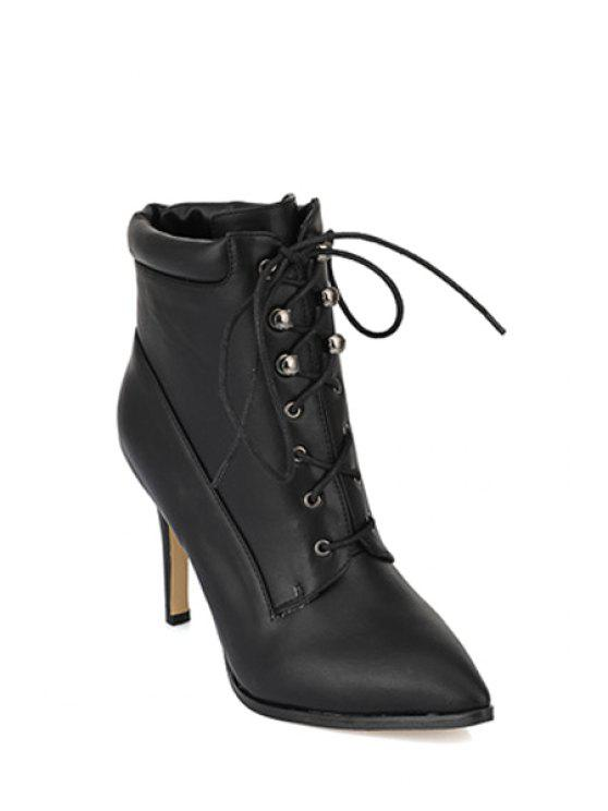 fancy Lace-Up Rivets Stiletto High Heel Boots - BLACK 34