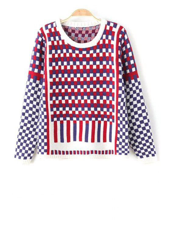 chic Tartan Plaid Round Collar All-Match Pullover Sweater - COLORMIX ONE SIZE(FIT SIZE XS TO M)