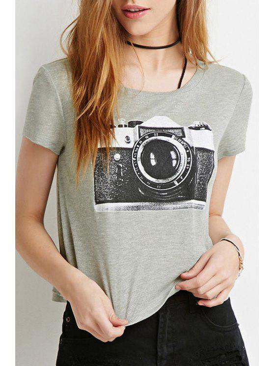 outfit Camera Print Short Sleeve T-Shirt - GRAY XS