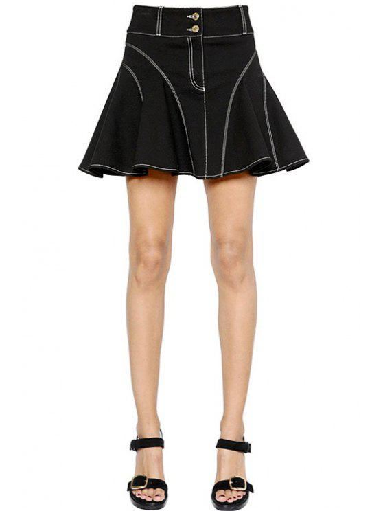 buy Flouncing Black High Waisted Flare Skirt - BLACK XS