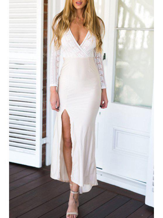 lady Deep V Neck High Slit Spliced Dress - MILK WHITE S