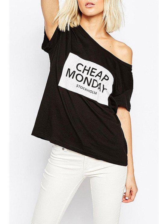 fashion Letters Print Scoop Neck Short Sleeve T-Shirt - BLACK XS
