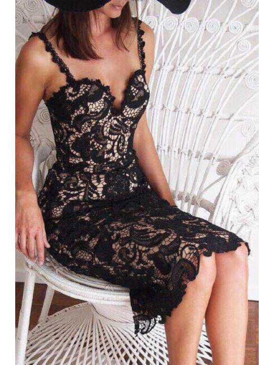 outfits Sleeveless Openwork Lace Hook Midi Dress - BLACK XL