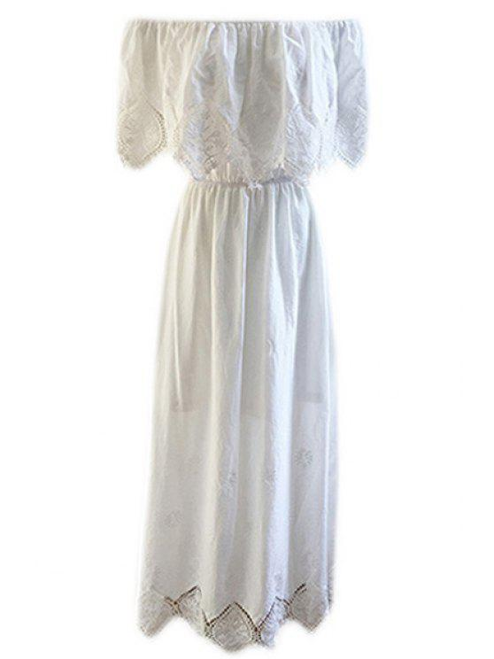 women's Slash Neck Lace Splicing Embroidery Dress - WHITE S