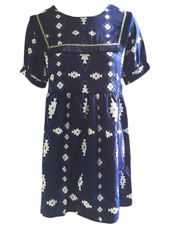 fashion Geometric Print Fringe Splicing Short Sleeve Dress - BLUE ONE SIZE(FIT SIZE XS TO M)