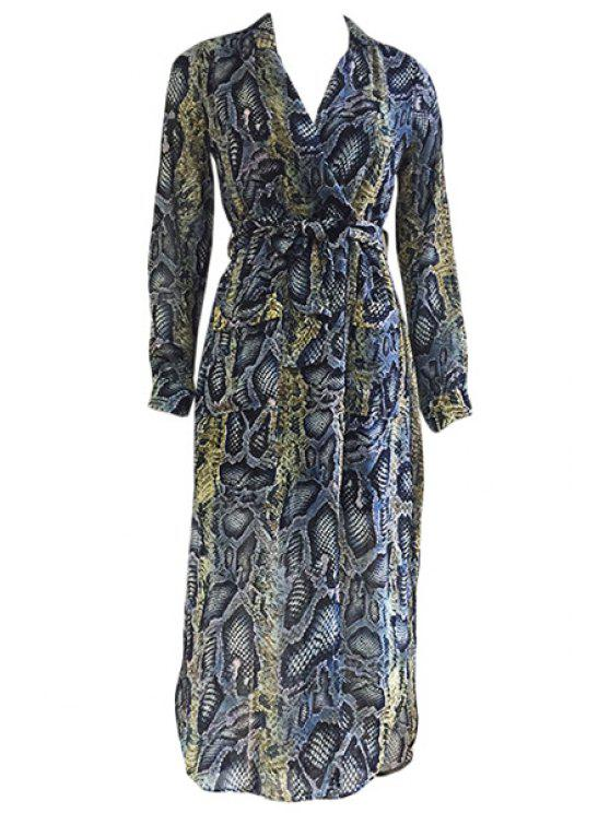 trendy V-Neck Printed Belt Long Sleeve Dress - COLORMIX ONE SIZE(FIT SIZE XS TO M)