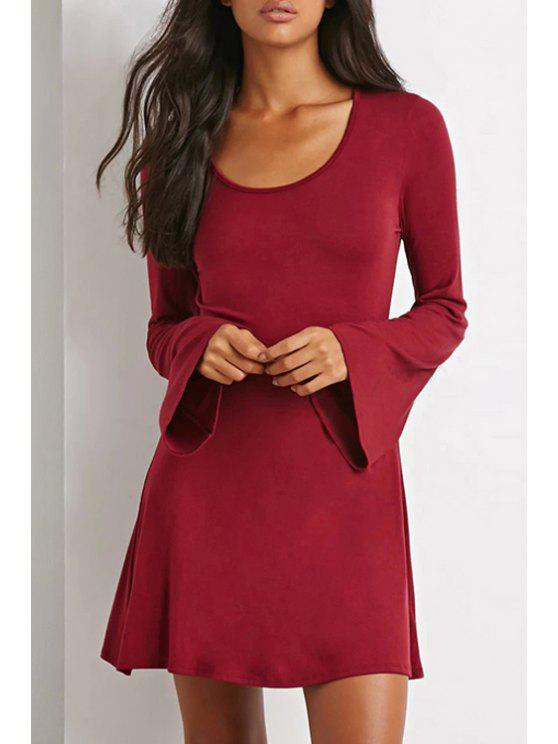 buy Bell Sleeve Solid Color Dress - WINE RED S
