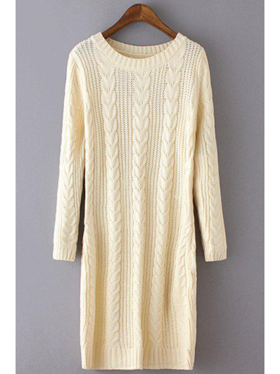 women Twist Braided Round Collar Solid Color Sweater Dress - WHITE ONE SIZE(FIT SIZE XS TO M)