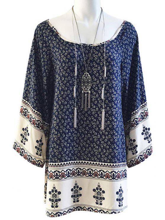 sale Tiny Floral Print Loose-Fitting Long Sleeve Dress - PURPLISH BLUE XS