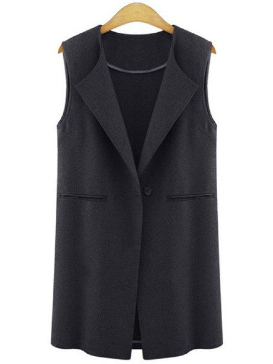 shops One Button Plus Size Waistcoat - BLACK XL