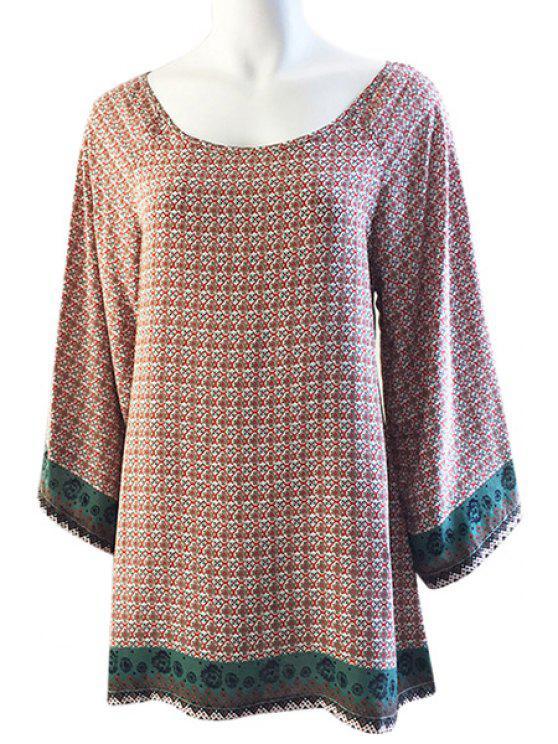 affordable Printed Loose-Fitting Long Sleeve Dress - ORANGE XS