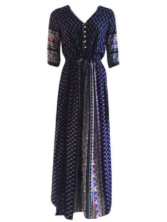 sale Tiny Printed Tie-Up Half Sleeve Dress - PURPLISH BLUE ONE SIZE(FIT SIZE XS TO M)
