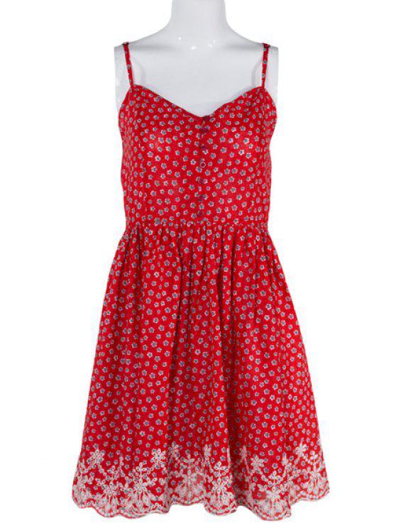 best Tiny Floral Print Spaghetti Strap Sleeveless Dress - RED S