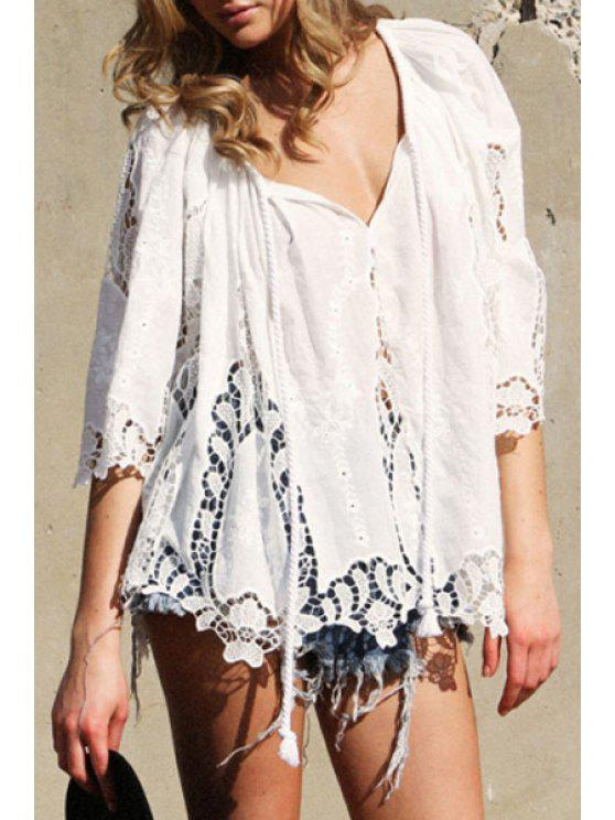 sale Tie-Up Openwork Solid Color Long Sleeve Blouse - WHITE ONE SIZE(FIT SIZE XS TO M)