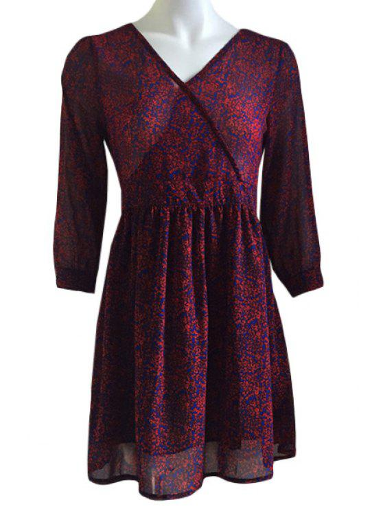shop V-Neck Tiny Floral Printed 3/4 Sleeve Dress - WINE RED ONE SIZE(FIT SIZE XS TO M)