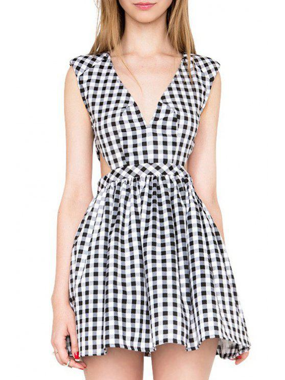 sale Checked Plunging Neck Sleeveless Mini Dress - WHITE AND BLACK L