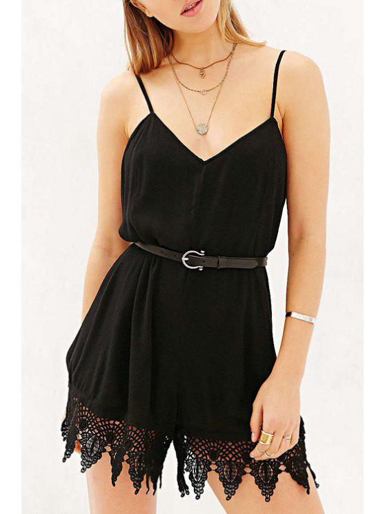 online Black Cami Lace Spliced Romper - BLACK XS