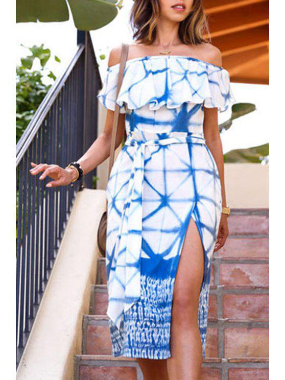 online Ruffle Sleeve Blue Print Midi Dress - BLUE AND WHITE S
