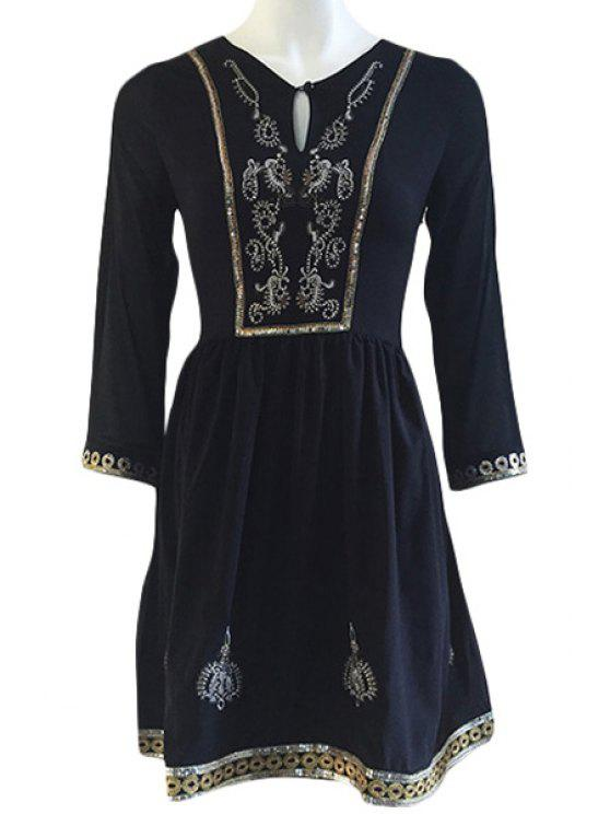 sale Embroidery Sequins 3/4 Sleeve Dress - BLACK M