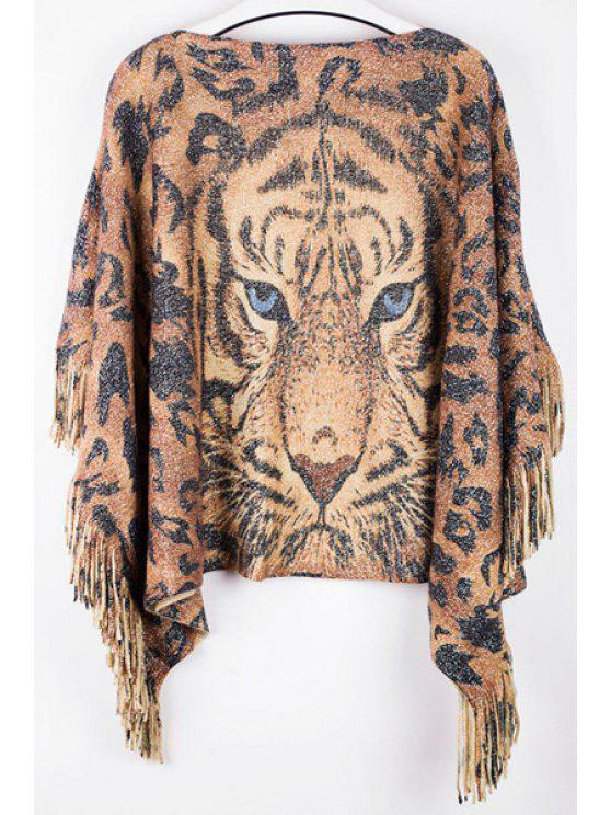 best Tiger Print Boat Neck Pullover Sweater - GOLD BROWN ONE SIZE(FIT SIZE XS TO M)