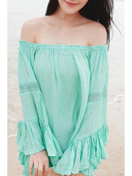 shops Slash Neck Solid Color Flounce Splicing Blouse - GREEN S